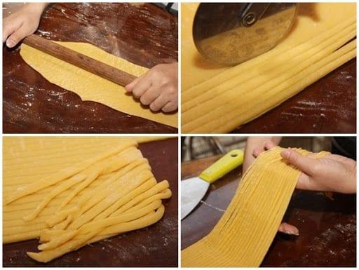cán bột và cắt mì thủ công